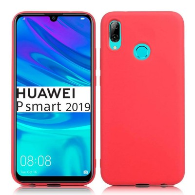 CUSTODIA per HUAWEI P SMART 2019, HONOR 10 LITE IN GEL TPU SILICONE SLIM COLORE ROSA PESCA SATINATO