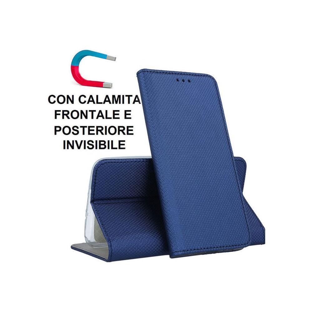 CUSTODIA per SAMSUNG GALAXY NOTE 20 (LTE/5G) - FLIP ORIZZONTALE con CHIUSURA MAGNETICA INVISIBILE ED INTERNO IN TPU SILICONE BLU