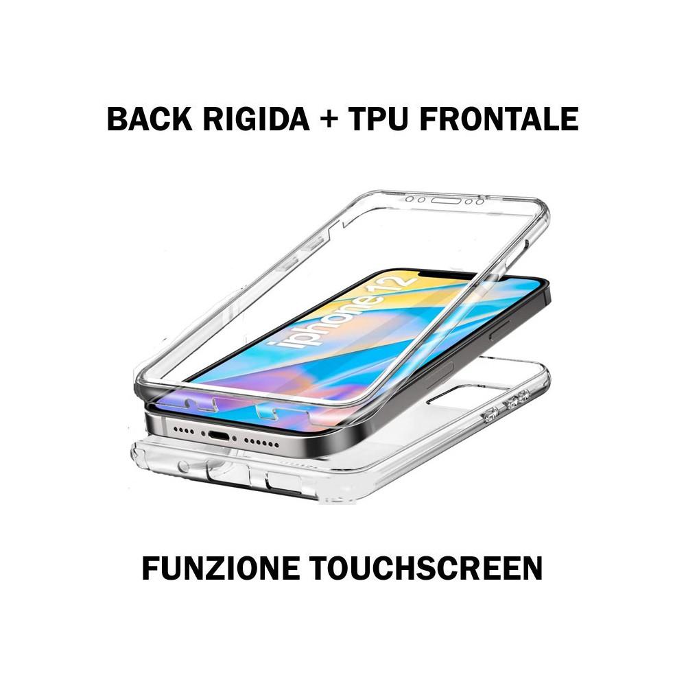 CUSTODIA per APPLE IPHONE 12 (5.4') - CON PARTE POSTERIORE RIGIDA + PARTE FRONTALE IN TPU SILICONE TRASPARENTE