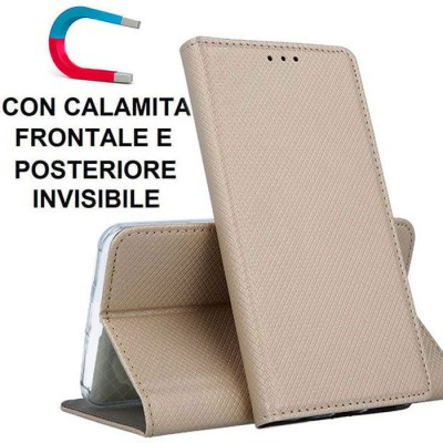 CUSTODIA per APPLE IPHONE 12 (5.4') - FLIP ORIZZONTALE con CHIUSURA MAGNETICA INVISIBILE, STAND ED INTERNO IN TPU ORO