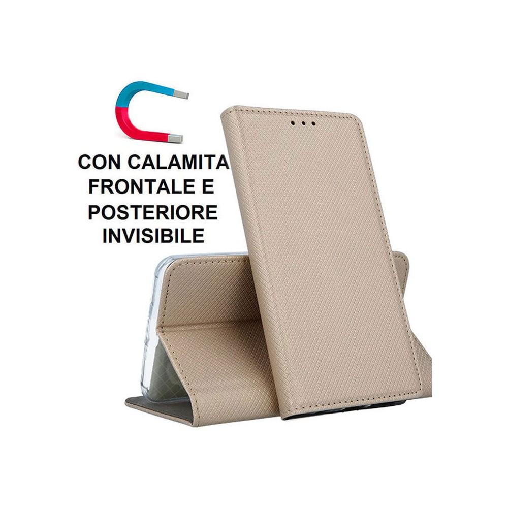 CUSTODIA per APPLE IPHONE 12 (5.4') - FLIP ORIZZONTALE con CHIUSURA MAGNETICA INVISIBILE, STAND ED INTERNO IN TPU ORO