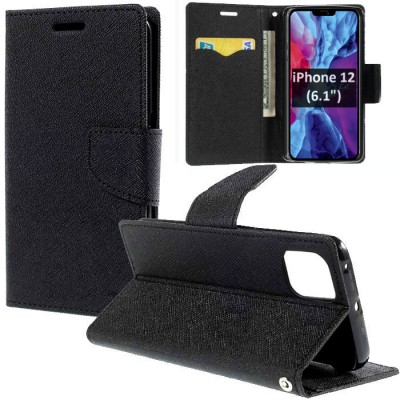 CUSTODIA per APPLE IPHONE 12 (6.1') - FLIP ORIZZONTALE CON INTERNO IN TPU SILICONE, STAND E TASCHE PORTA CARTE COLORE NERO