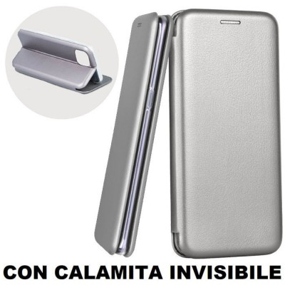 CUSTODIA per APPLE IPHONE 12 (5.4') - FLIP ORIZZONTALE SIMILPELLE CON CHIUSURA MAGNETICA INVISIBILE E INTERNO IN TPU GRIGIO