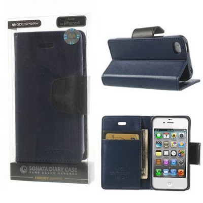 CUSTODIA FLIP ORIZZONTALE PELLE per APPLE IPHONE 4, IPHONE 4s CON INTERNO IN TPU E STAND COLORE BLU SONATA BLISTER