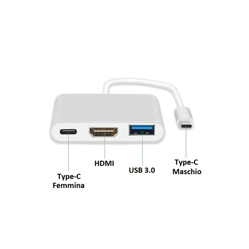 ADATTATORE AUDIO/VIDEO 3IN1 DA USB TYPE-C 3.1 AD HDMI FEMMINA, ENTRATA USB 3.0 E TYPE-C - RISOLUZIONE 4K BIANCO E SILVER - ATTEN