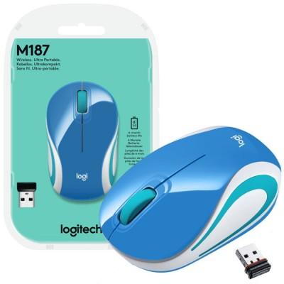 MINI MOUSE OTTICO WIRELESS 2.4GHz USB 2.0 M187 LOGITECH RISOLUZIONE 1000DPI E RAGGIO DI AZIONE 10 METRI BLU E BIANCO BLISTER