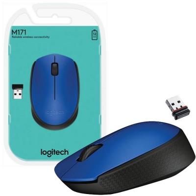 MOUSE OTTICO WIRELESS 2.4GHz USB M171 LOGITECH CON RAGGIO DI AZIONE 10 METRI BLU E NERO BLISTER