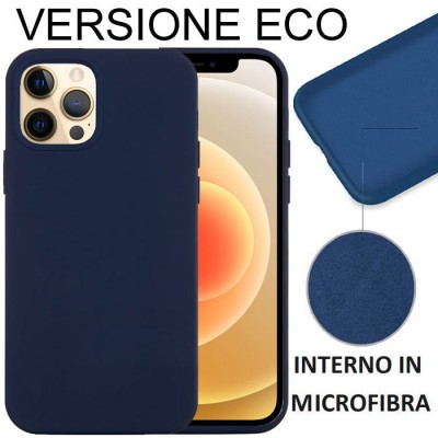 CUSTODIA per APPLE IPHONE 12 PRO MAX (6.7') IN SILICONE CON EFFETTO SOFT TOUCH ED INTERNO IN MICROFIBRA BLU VERSIONE ECONOMICA