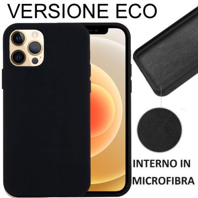 CUSTODIA per APPLE IPHONE 12 PRO MAX (6.7') IN SILICONE CON EFFETTO SOFT TOUCH ED INTERNO IN MICROFIBRA NERO VERSIONE ECONOMICA