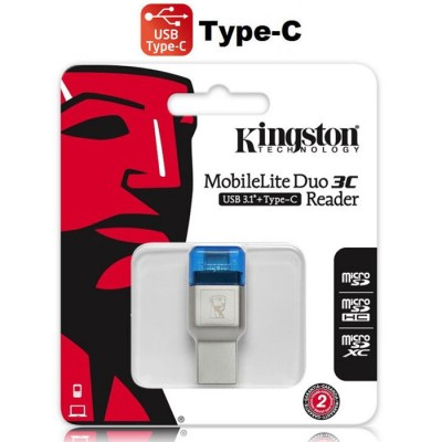 LETTORE DI MEMORIE A DOPPIA INTERFACCIA USB TYPE-C USB 3.1 per SCHEDE MICRO SD/ SDHC/SDXC FCR-ML3C KINGSTON BLISTER