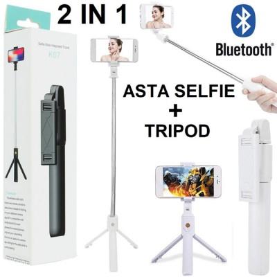 ASTA TELESCOPICA + TRIPOD CON TELECOMANDO BLUETOOTH per SMARTPHONE ESTENSIBILE FINO A 95 CM COLORE BIANCO BLISTER