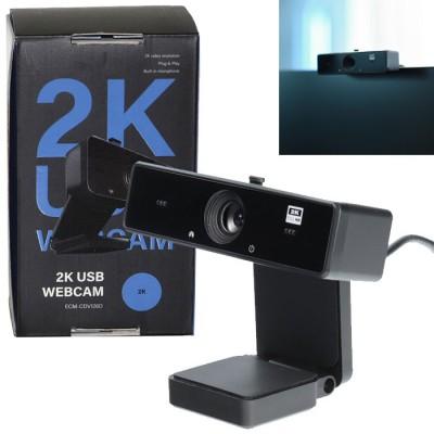 WEBCAM HD 2K USB 2.0 RISOLUZIONE 2560x1440p CON MICROFONO INTEGRATO E FISSAGGIO A CLIP LUNGHEZZA CAVO 1,5MT COLORE NERO BLISTER