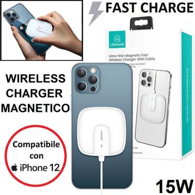 ALIMENTATORE WIRELESS MAGNETICO 15W FAST CHARGING COMPATIBILE CON APPLE IPHONE 12 E DISPOSITIVI DOTATI DI TECNOLOGIA QI BIANCO