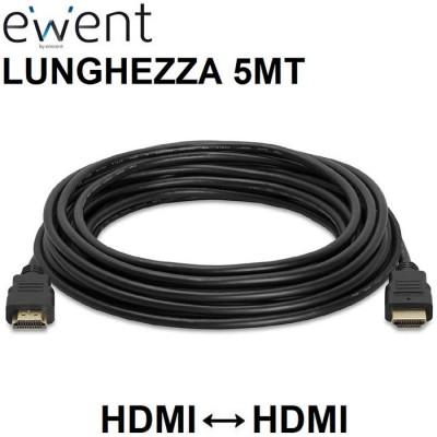 CAVO HDMI MASCHIO / HDMI MASCHIO 19 PIN CON ETHERNET 3D 4K ULTRA HD 30HZ CON CONNETTORI PLACCATI ORO - LUNGHEZZA 5MT NERO EWENT