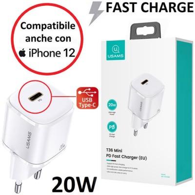TRAVEL CASA CON PORTA TYPE-C 20W FAST CHARGING (RICARICA VELOCE) BIANCO USAMS BLISTER - COMPATIBILE ANCHE CON IPHONE 12