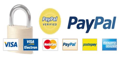 Gli acquisti sono garantiti da transazioni sicure con certificati SSL, il pagamento con Paypal, ti garantisce ulteriormente nel caso riscontrassi problematiche con il tuo ordine. Puoi pagare con Carta di Credito anche tramite Paypal, con Postepay, Bonifico Bancario e Contrassegno